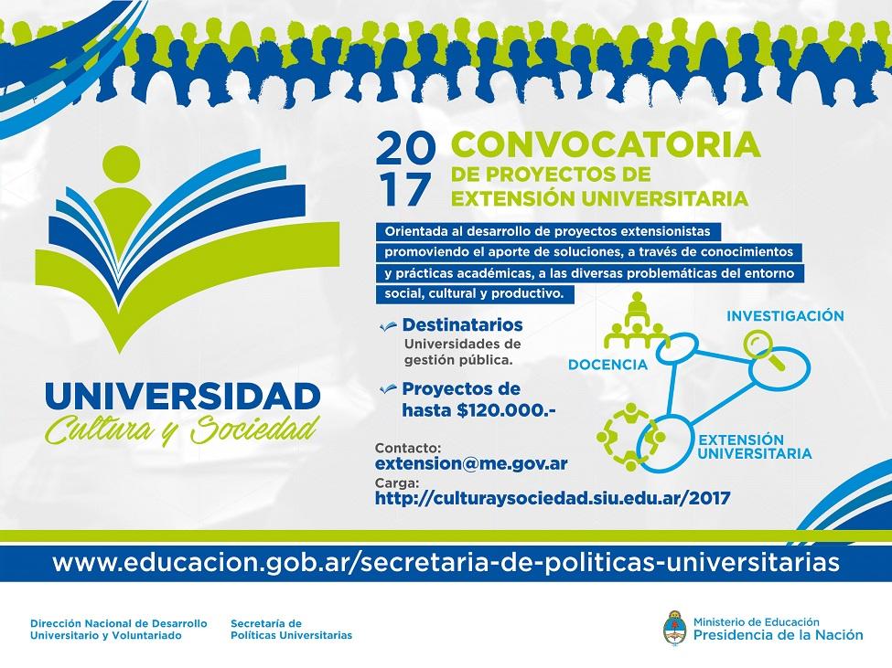 """La imagen muestra el flyer de la convocatoria """"Universidad, cultura y sociedad"""" 2017."""