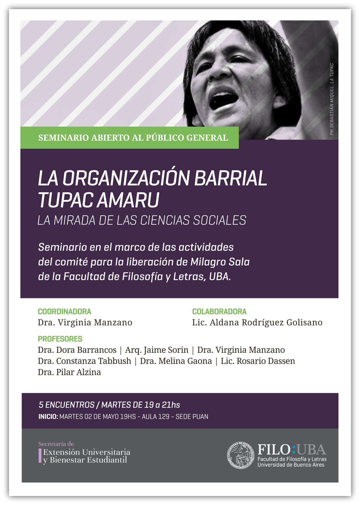 Flyer del Seminario Libre de la Túpac Amaru, con una imagen de Milagro Sala y todos los datos de los encuentros, ya descriptos en el cuerpo de la noticia.