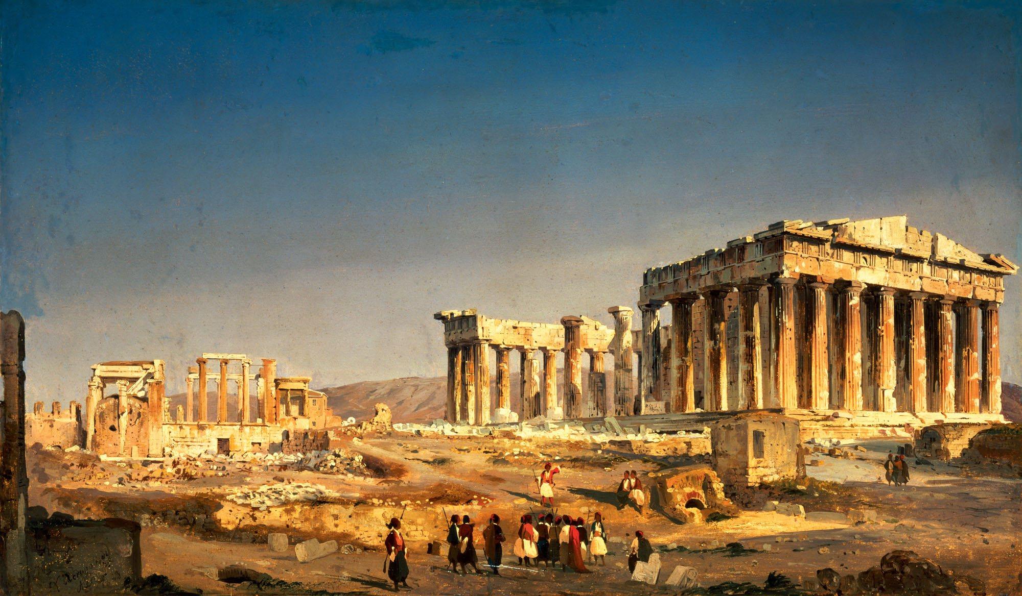 """""""El Partenón"""" (1843), por Ippolito Caffi. Museo Ca' Pesaro, Venezia."""