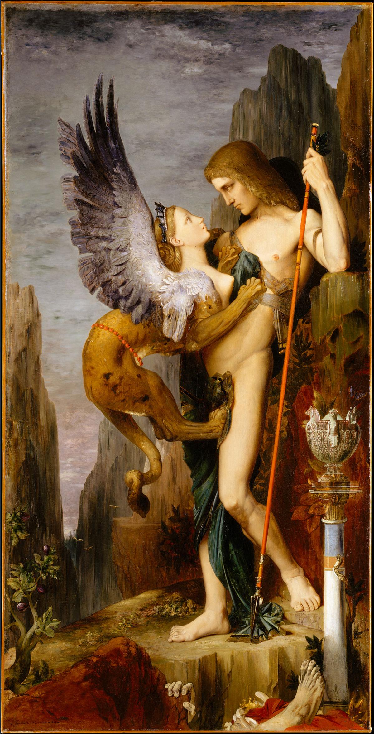 """La foto muestra el cuadro """"Edipo y la Esfinge"""", del pintor francés Gustave Moreau."""