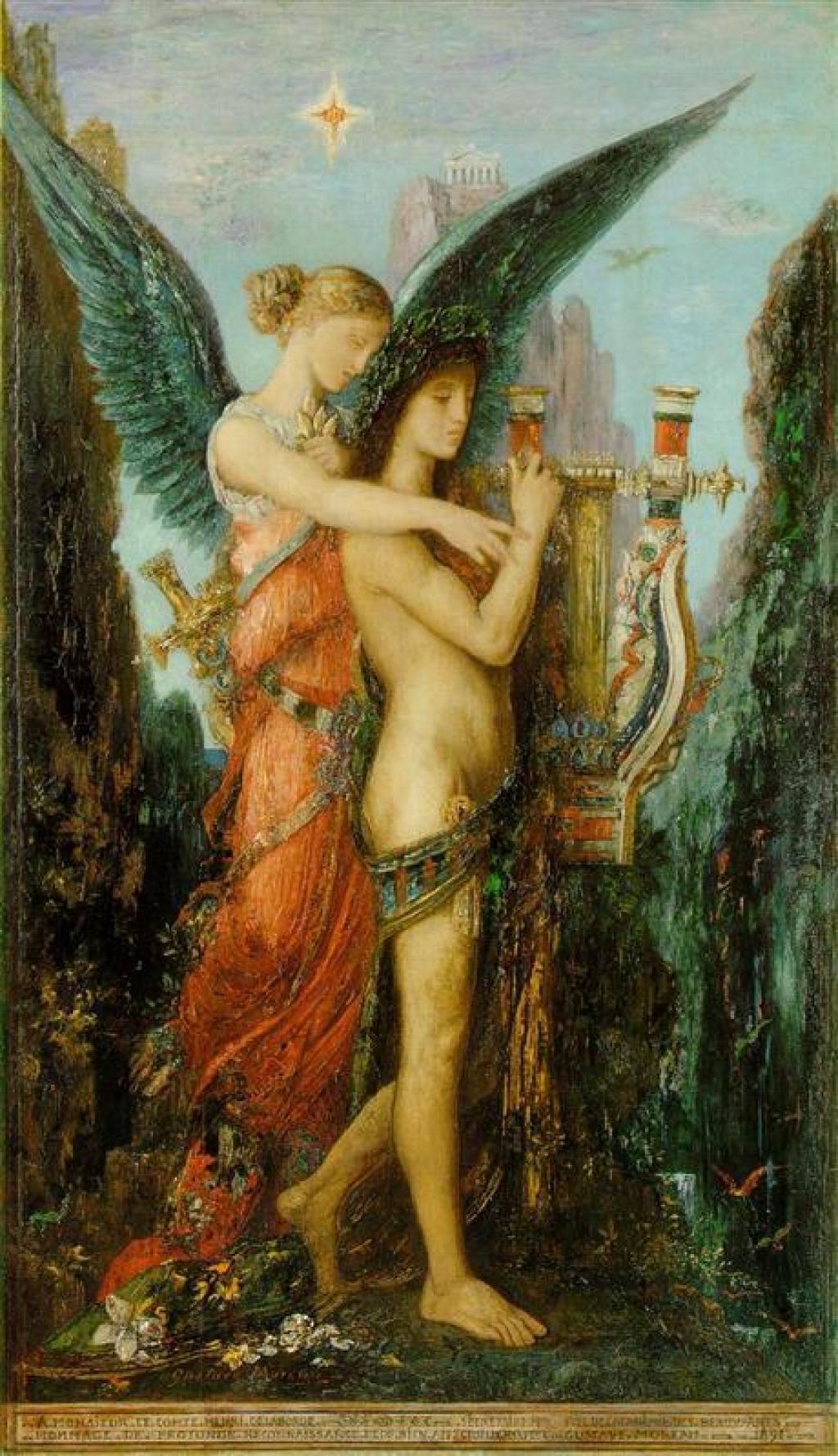 """La foto muestra el cuadro """"Hesíodo y la Musa"""", del pintor francés Gustave Moreau."""
