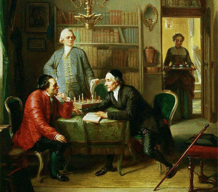 "La imagen muestra un recorte del cuadro ""Lavater y Lessing visitan a Moses Mendelssohn"" (1856), del pintor judeo-alemán Moritz Daniel Oppenheim."