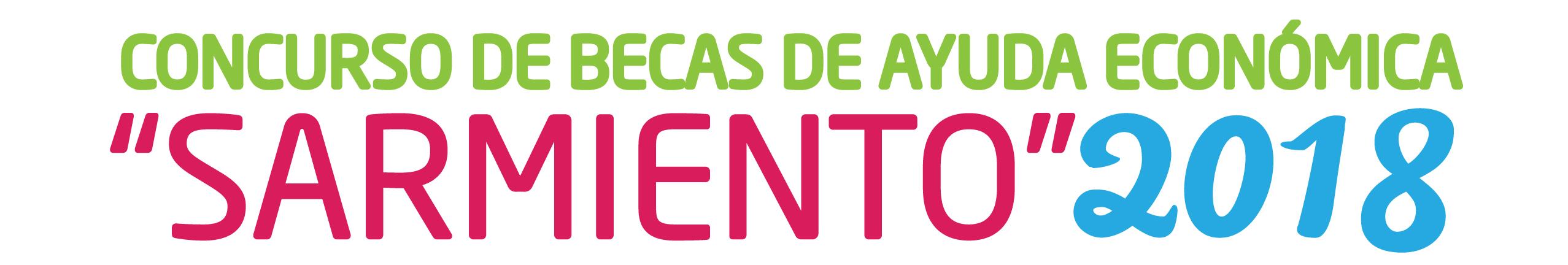 """La imagen muestra un Banner que reza: Concurso de Becas de Ayuda Económica """"Sarmiento"""" 2018."""