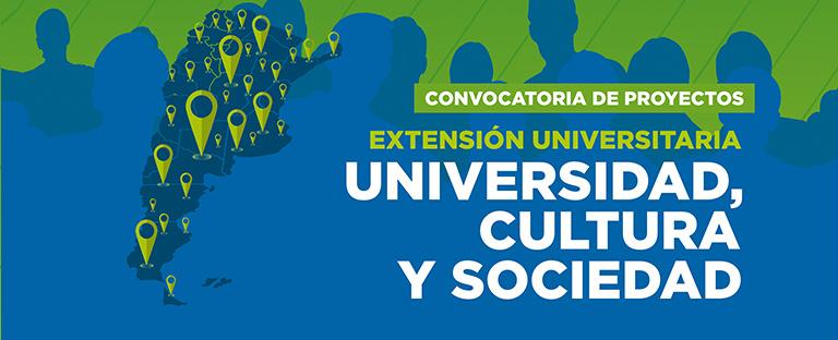 """La foto muestra el banner de difusión de la Convocatoria a Proyectos de Extensión Universitaria """"Universidad, Cultura y Sociedad"""" de la SPU."""