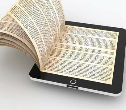 Imagen: combinación entre libro papel y tablet.