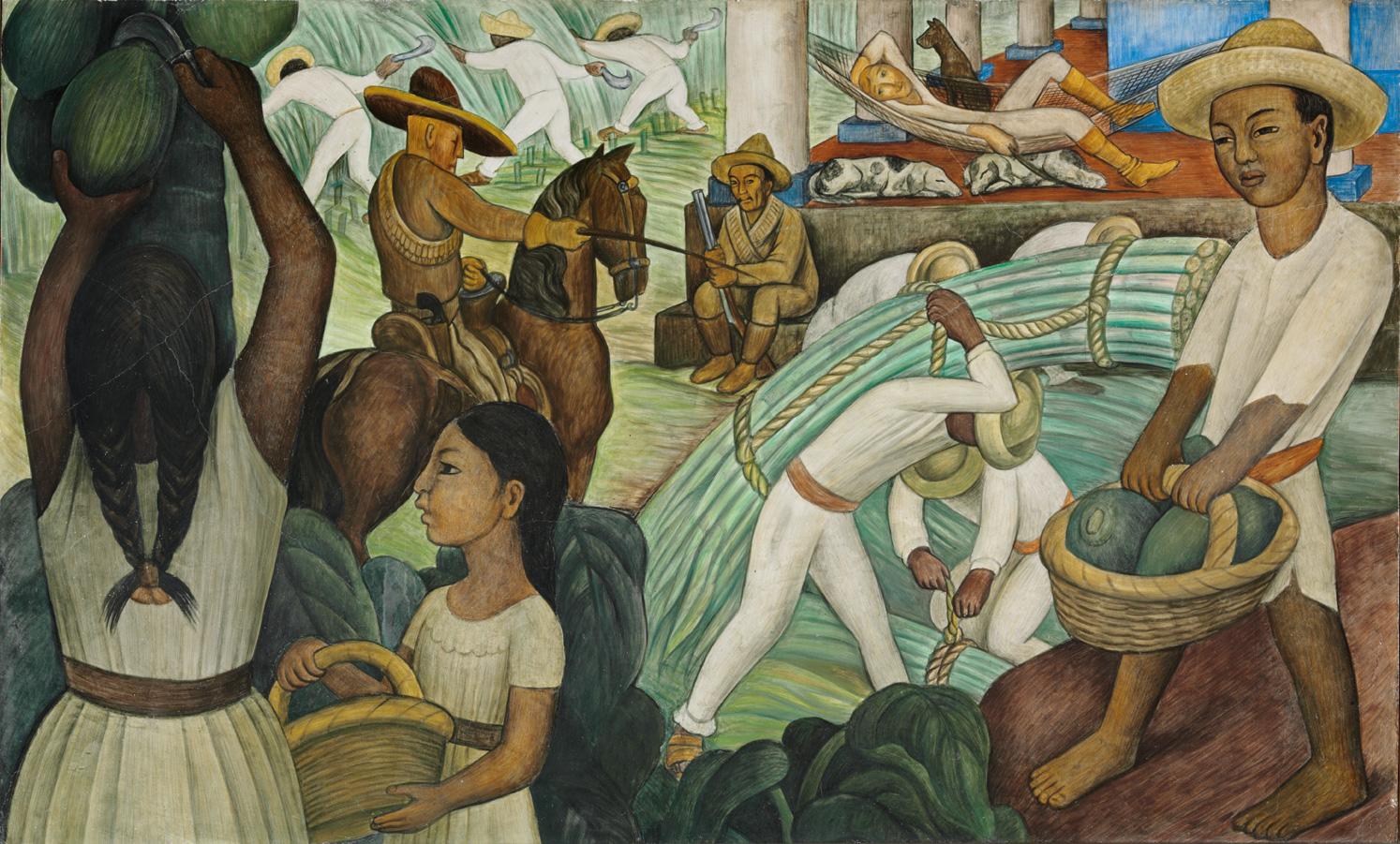 """La imagen muestra el mural """"Caña de azúcar"""" del pintor mexicano Diego Rivera."""