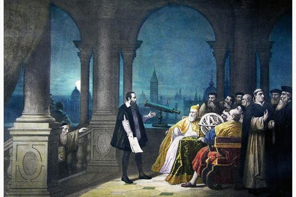 Galileo Galilei presentando su  telescopio en Venecia (H. J. Detouche).