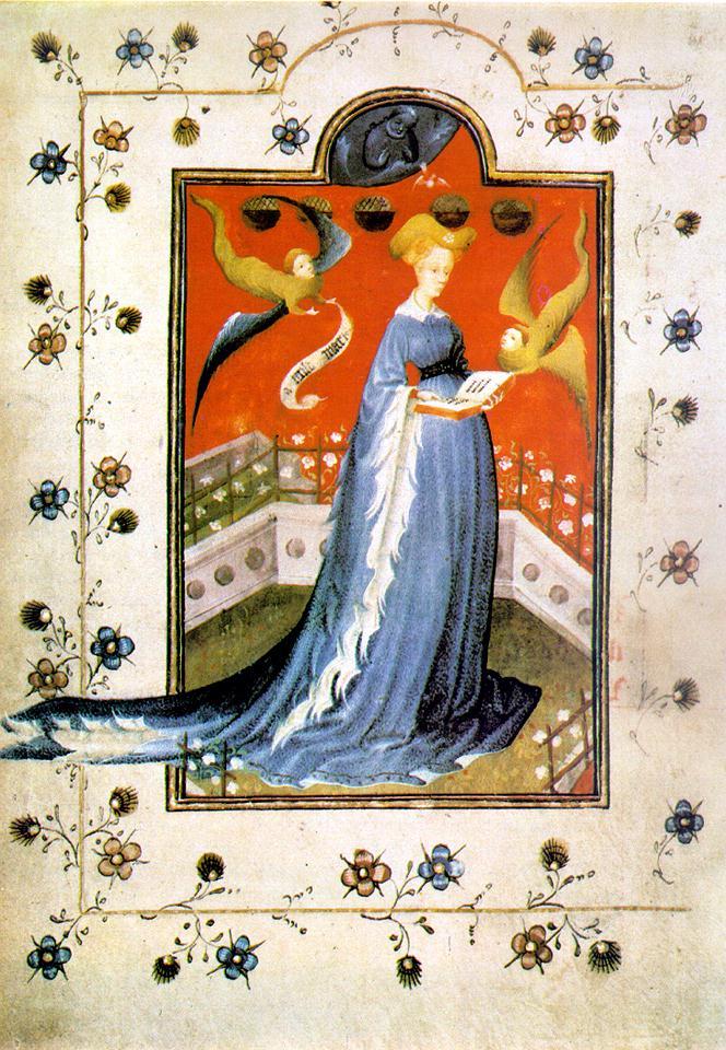 La imagen muestra la portada del libro gótico de las horas de Maria d'Harcourt.
