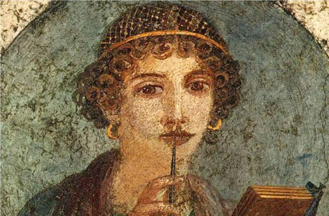 """La imagen muestra el retrato """"La Poetisa de Pompeya (Safu)"""", un mural anónimo del siglo I d.C. Museo Arqueológico de Nápoles."""