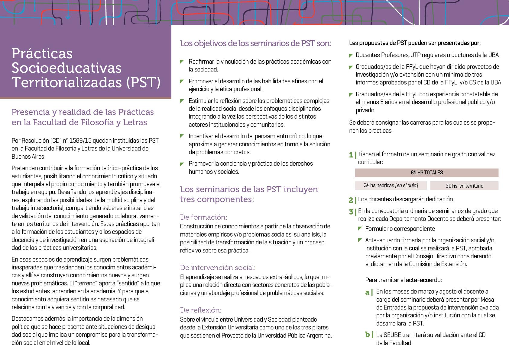 La imagen muestra el tríptico de PST con el detalle de los objetivos y pautas de presentación incluidas en el informe.
